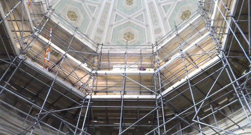 Tubes scaffolding inside the Radcliffe Camera